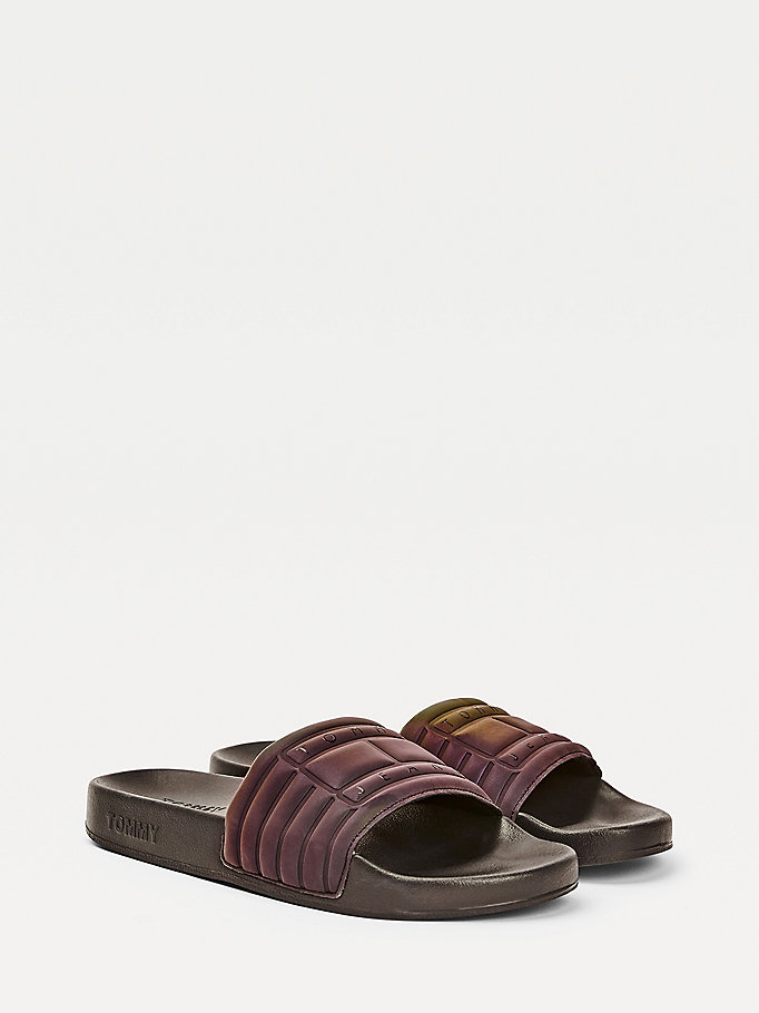 black reflective strap logo pool slides for women tommy jeans