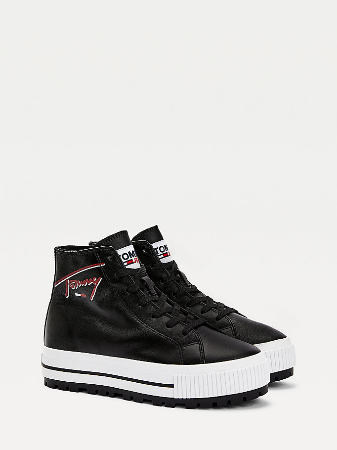 black warm lined high top trainers for women tommy jeans