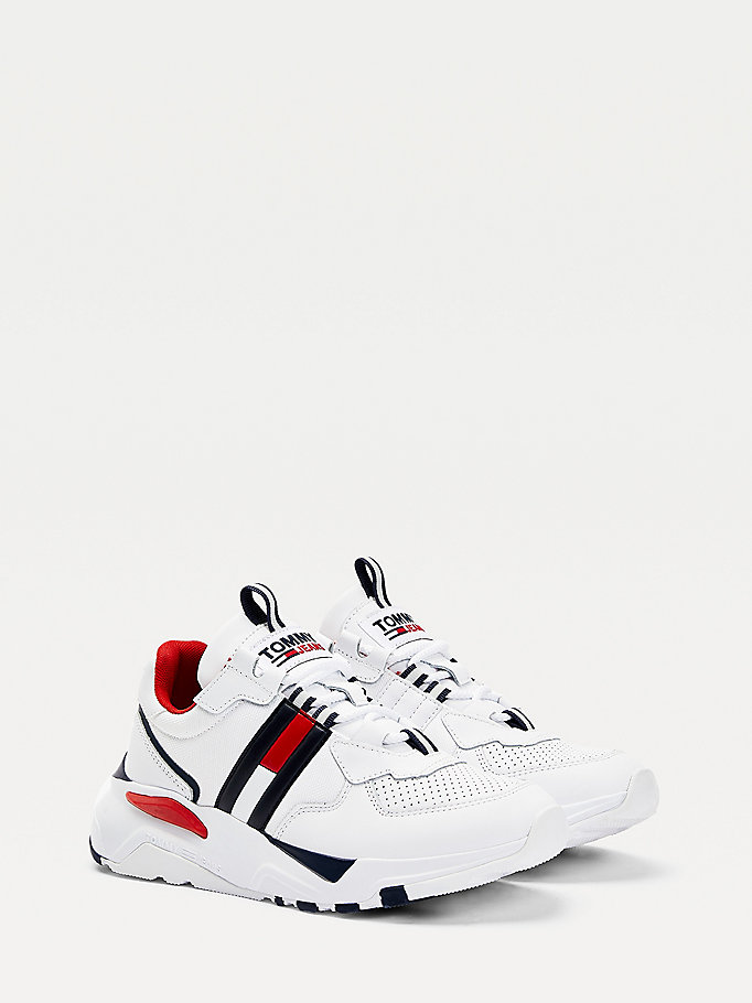 white chunky signature trainers for women tommy jeans
