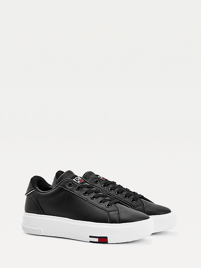black cupsole flatform trainers for women tommy jeans