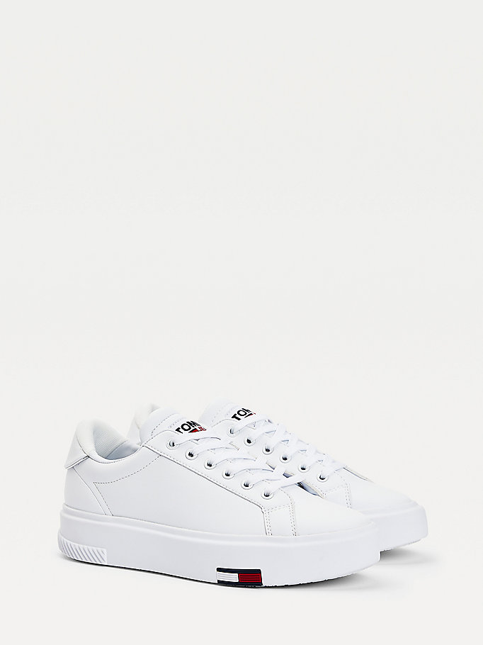white cupsole flatform trainers for women tommy jeans