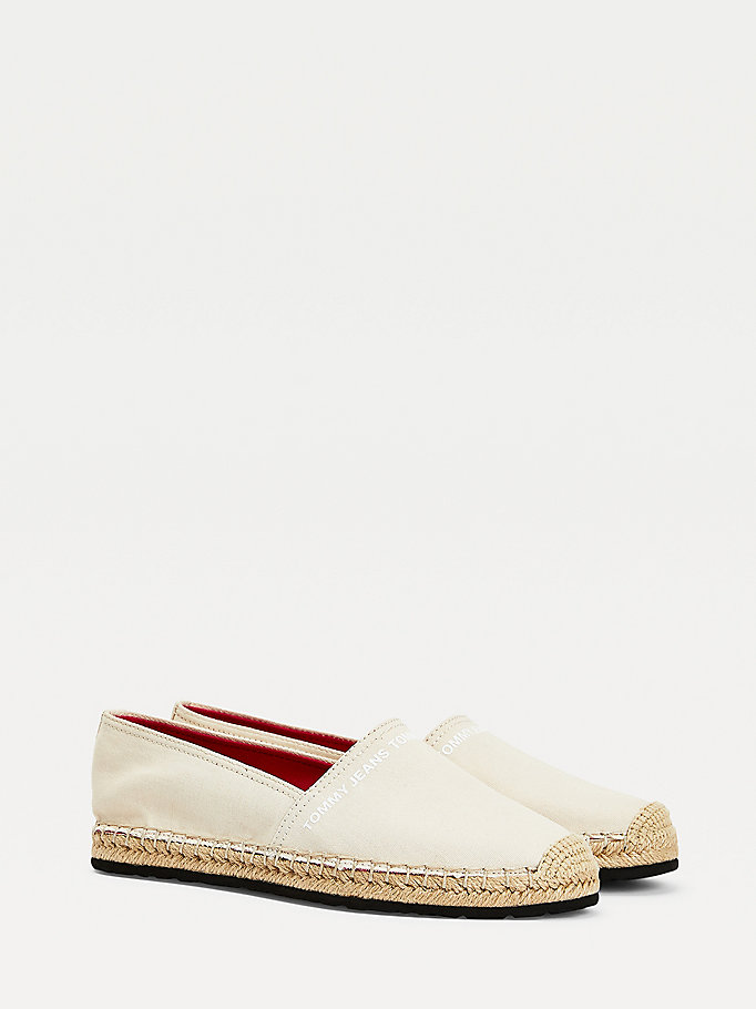 beige essential logo espadrilles for women tommy jeans