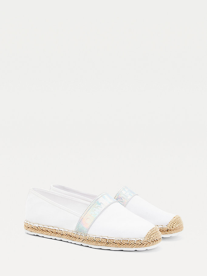 white embossed logo espadrilles for women tommy jeans