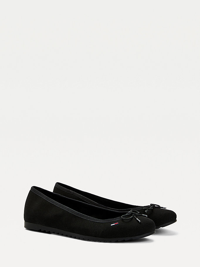black essential ballerina pumps for women tommy jeans