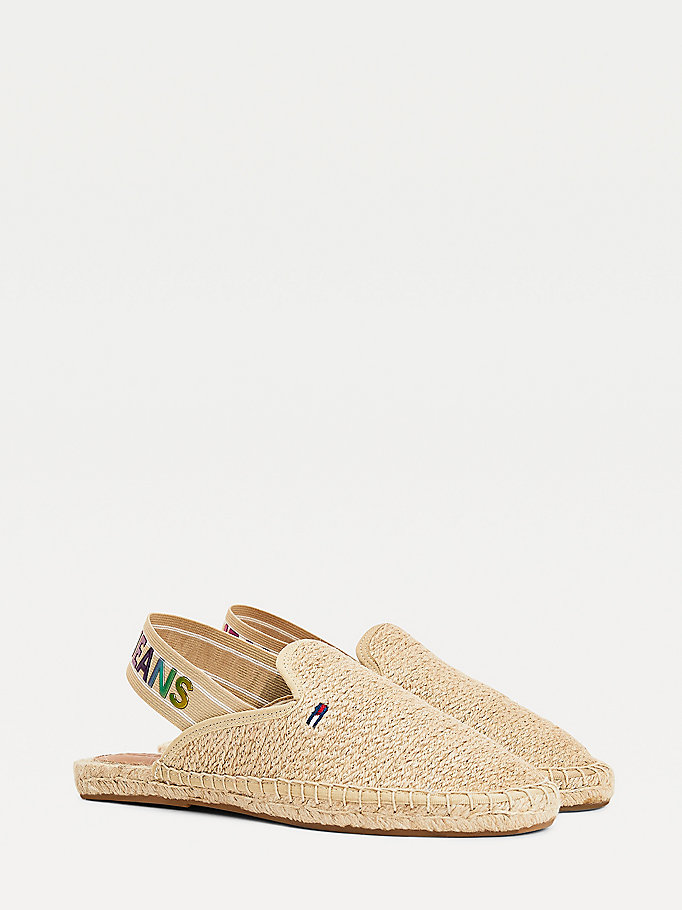 beige ombre logo open espadrilles for women tommy jeans