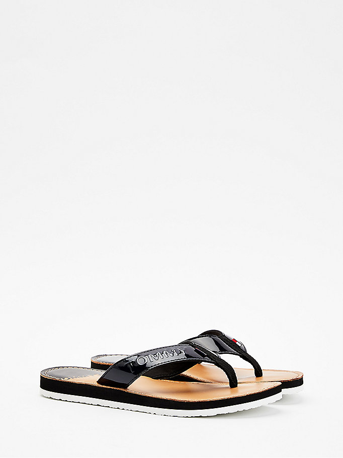 black iridescent strap flip-flops for women tommy jeans