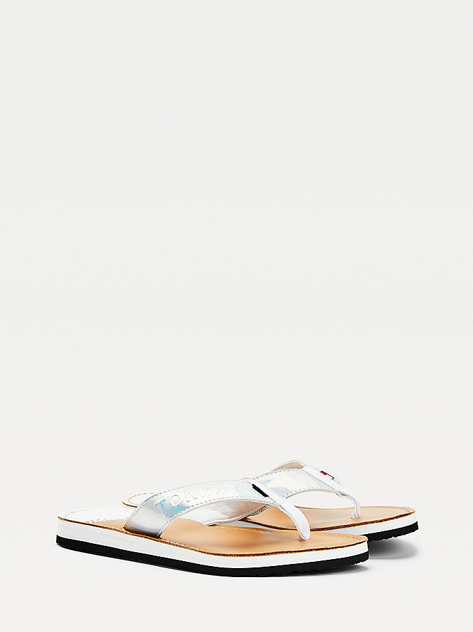 white iridescent strap flip-flops for women tommy jeans