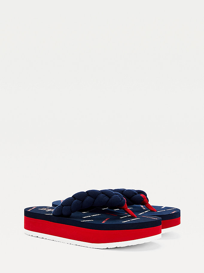 blue braided platform flip-flops for women tommy jeans