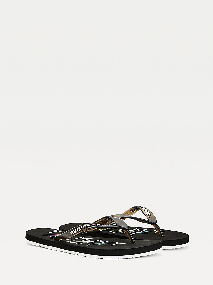 black logo strap flip-flops for women tommy jeans