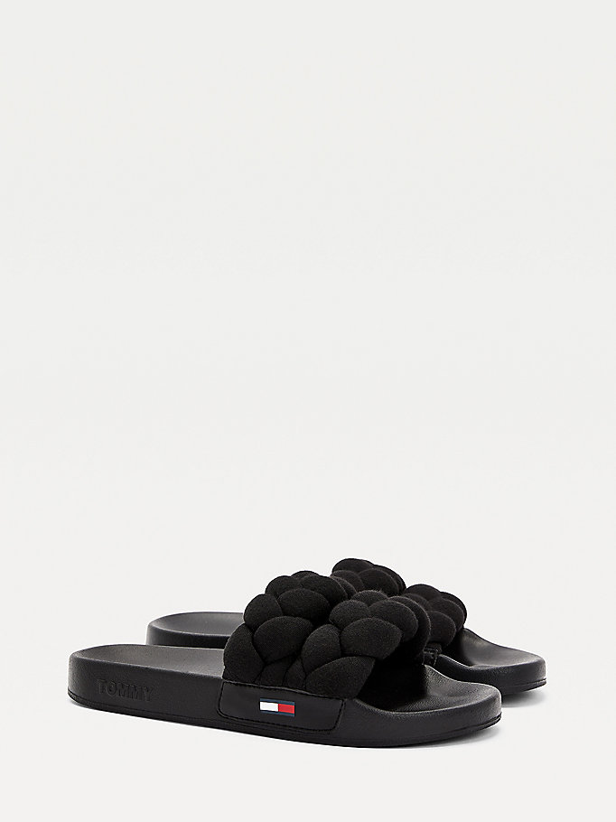 black braided strap slides for women tommy jeans
