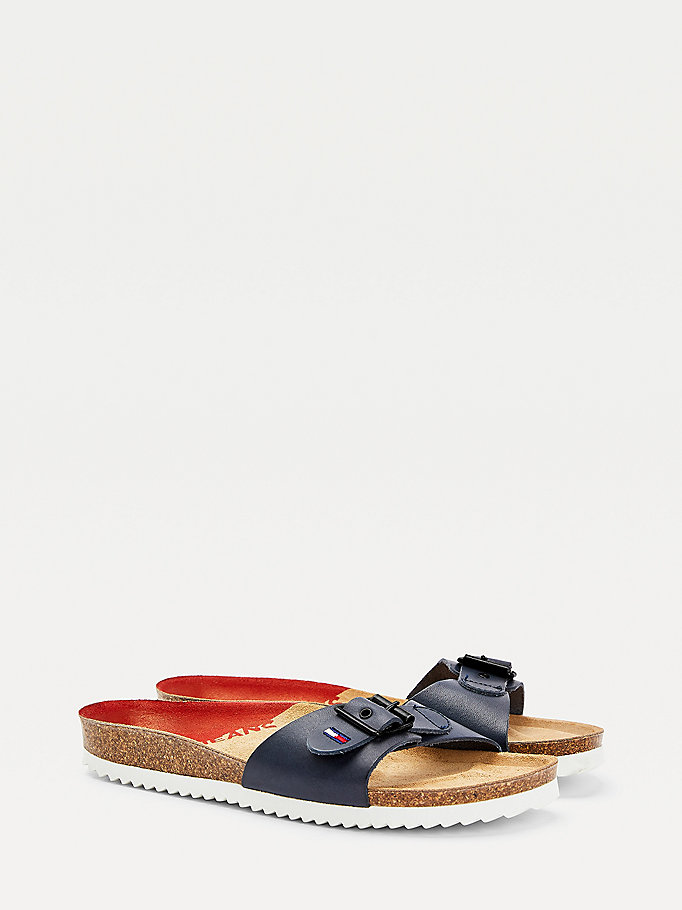 blue essential buckle strap mules for women tommy jeans