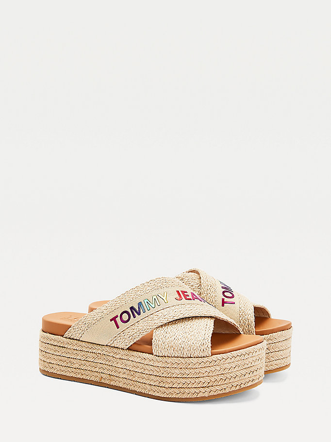 beige crossover strap mules for women tommy jeans