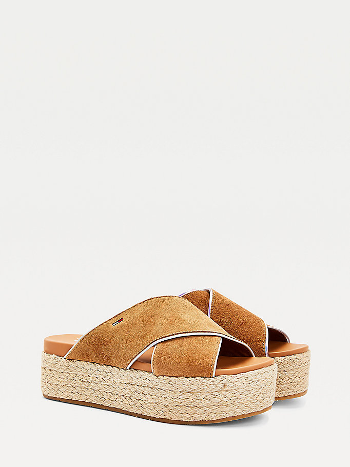 brown essential flatform mules for women tommy jeans