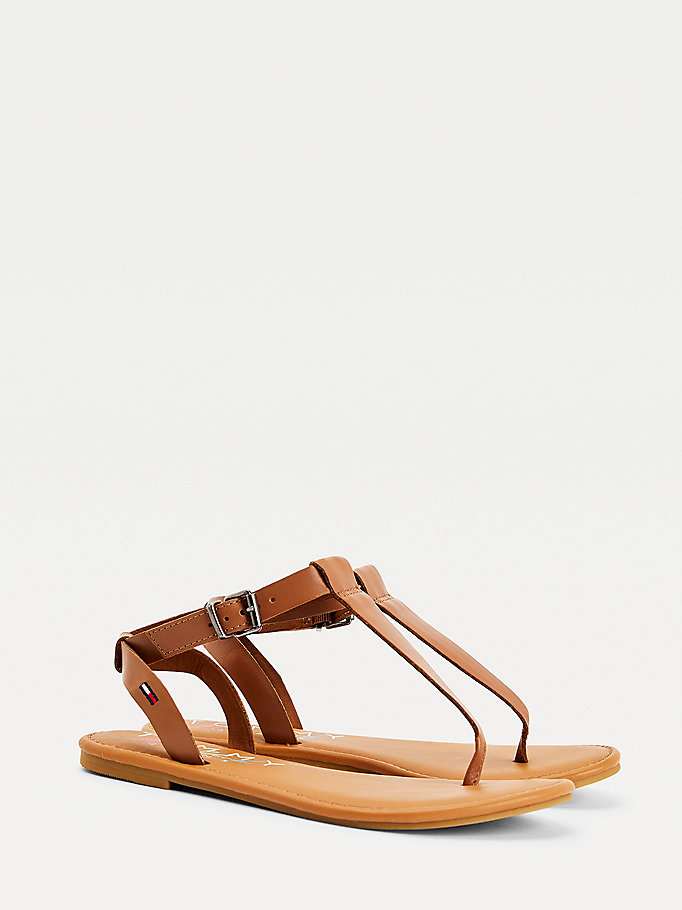 brown essential thong sandals for women tommy jeans