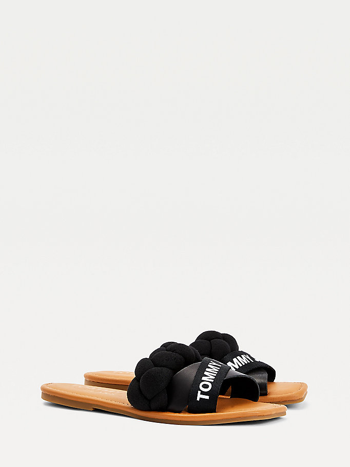 black braided strap mules for women tommy jeans