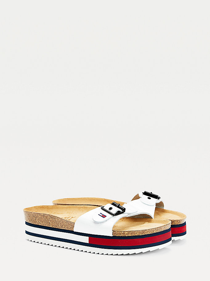 wit colour-blocked platformslipper voor dames - tommy jeans