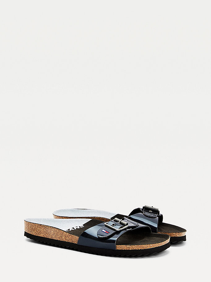 black iridescent strap mules for women tommy jeans