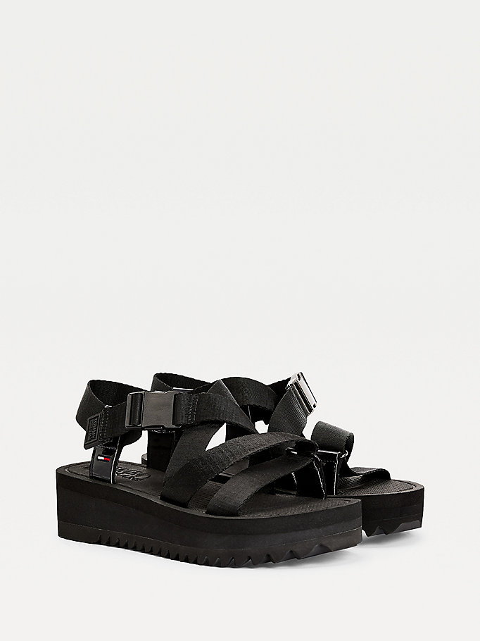 black webbing strap flatform sandals for women tommy jeans