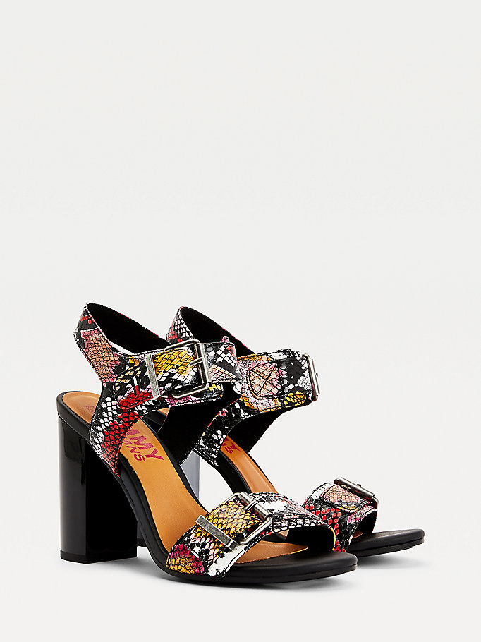 black snake print block heel sandals for women tommy jeans