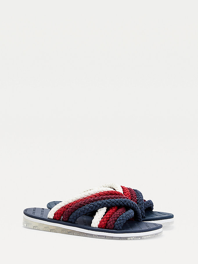 blue crossover strap sandals for women tommy jeans