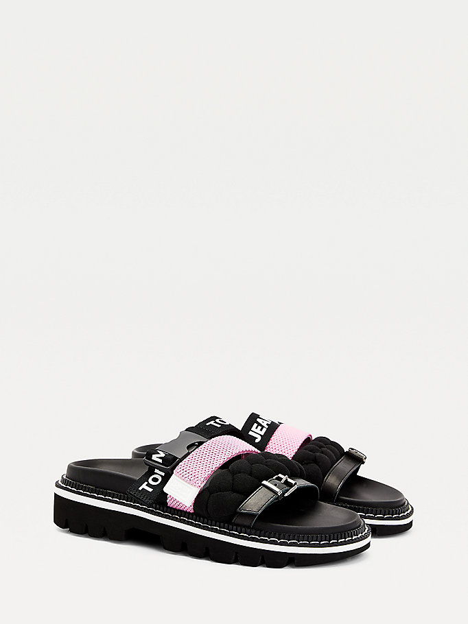 black contrast strap mules for women tommy jeans