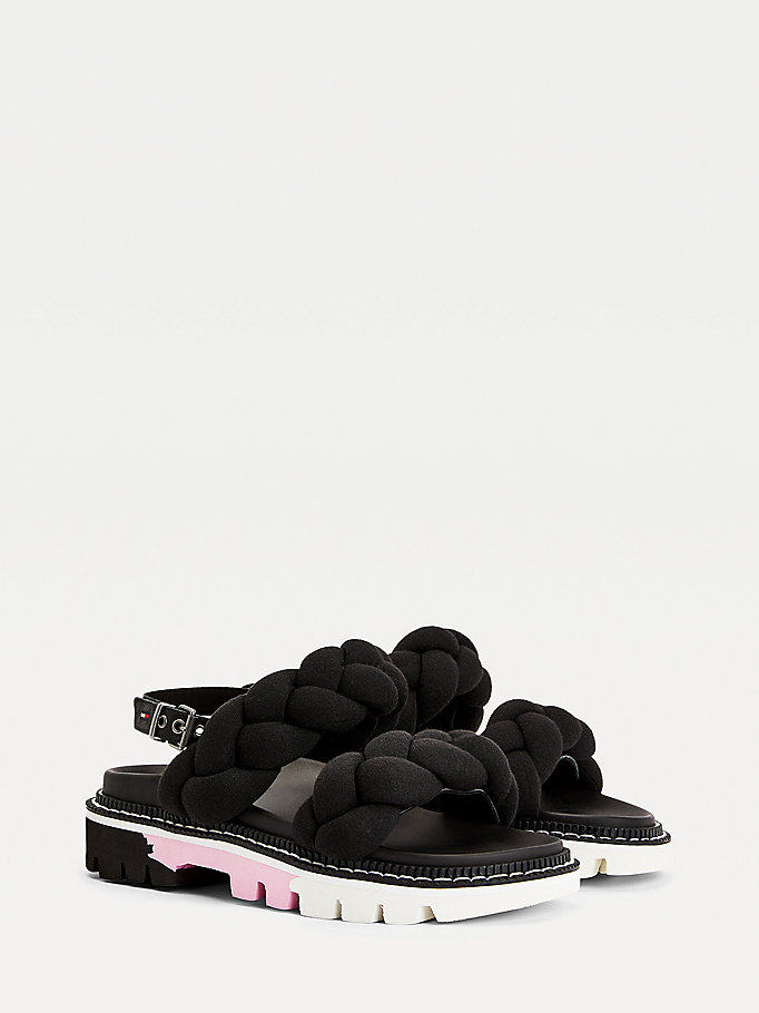 black braided straps sandals for women tommy jeans