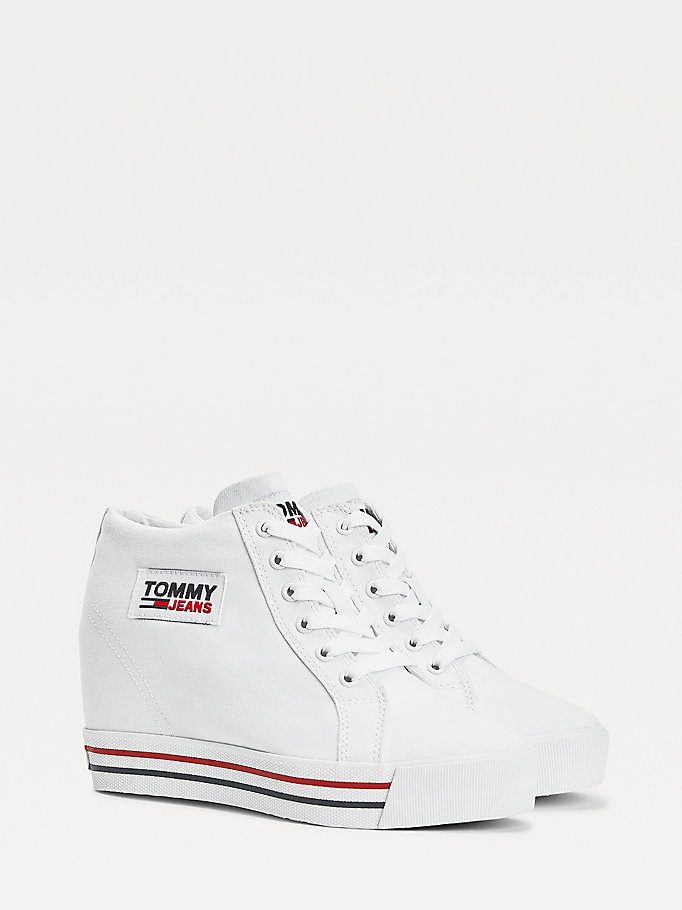white wedge heel trainers for women tommy jeans