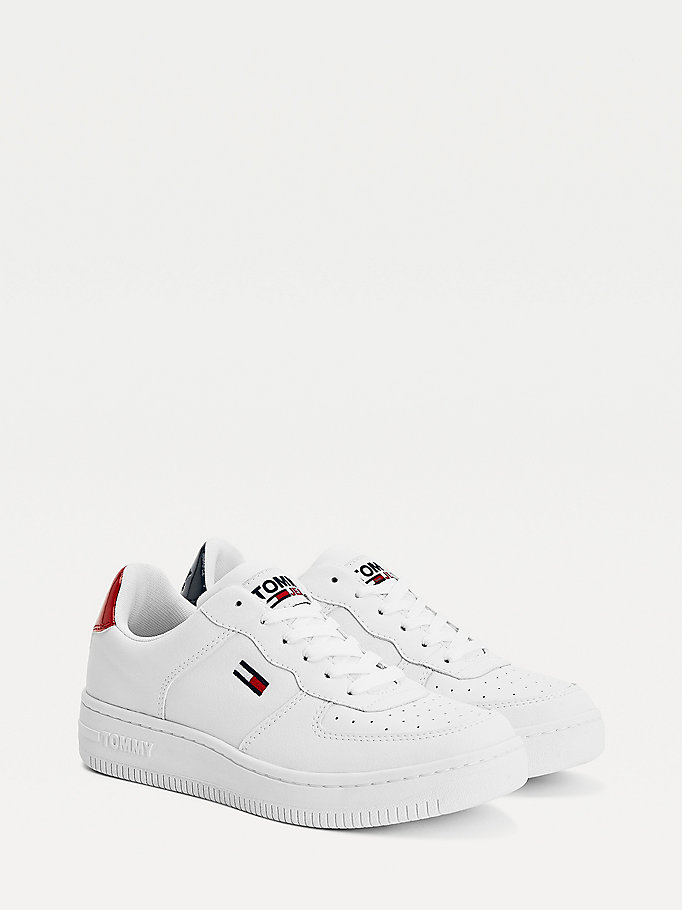 white suede panel trainers for women tommy jeans