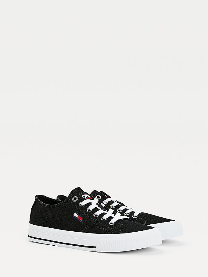 black low-top flag trainers for women tommy jeans