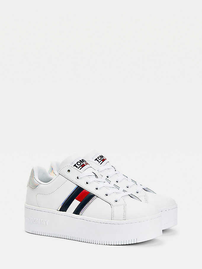 white iridescent flatform trainers for women tommy jeans