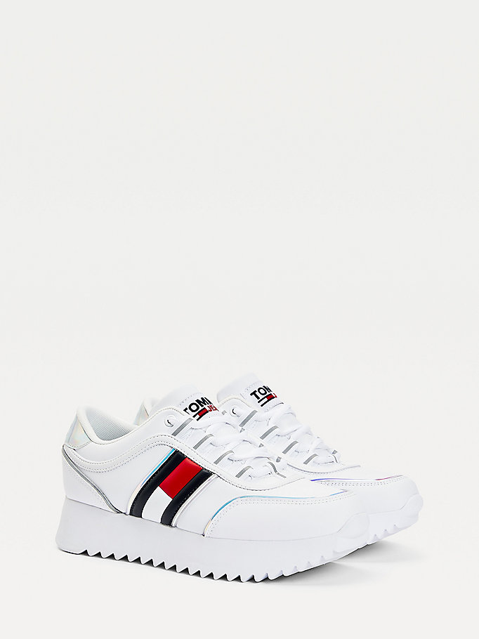 white flag flatform trainers for women tommy jeans