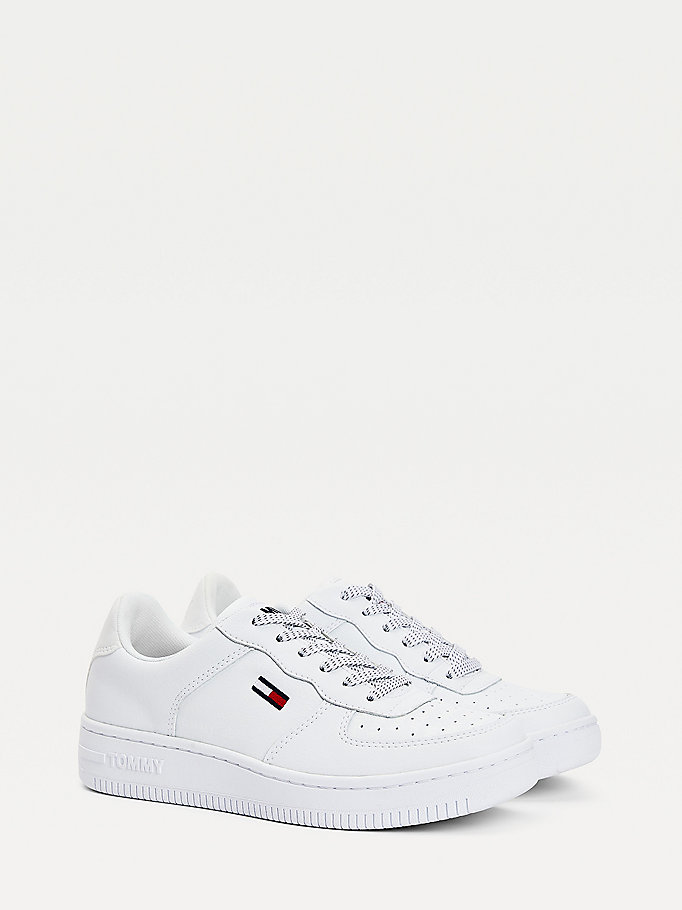 white reflective low-top trainers for women tommy jeans