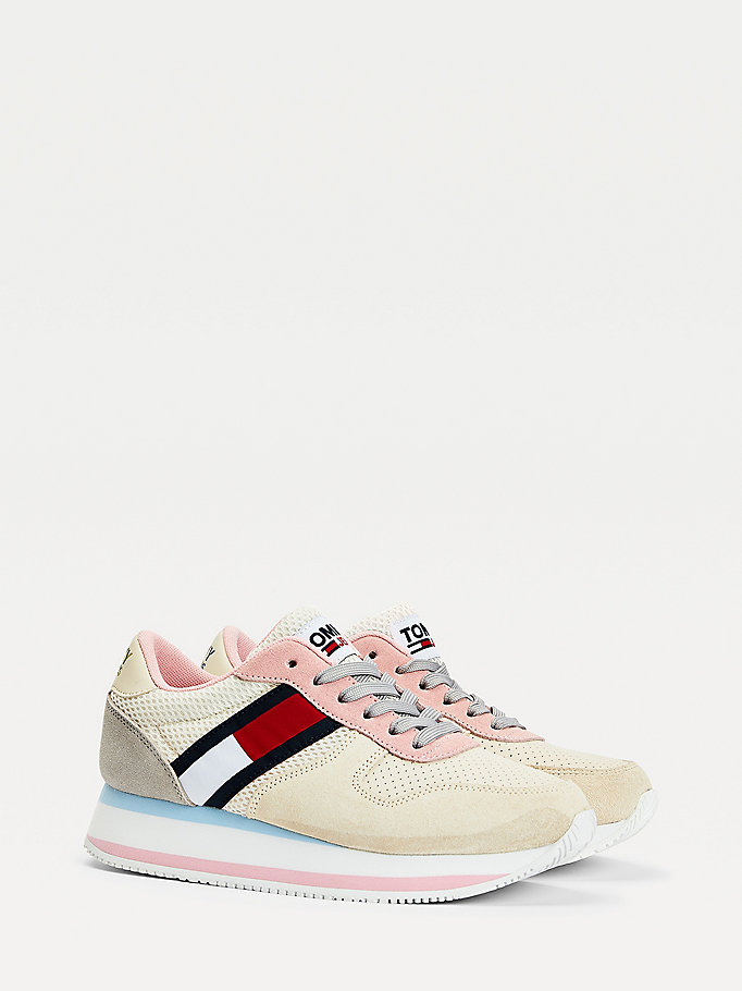 beige colour-blocked flatform trainers for women tommy jeans