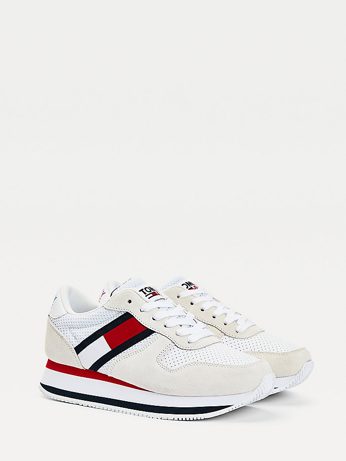 white colour-blocked flatform trainers for women tommy jeans