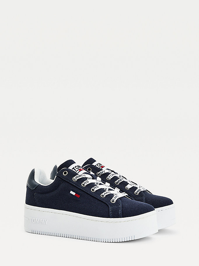 blue iconic essential flatform trainers for women tommy jeans