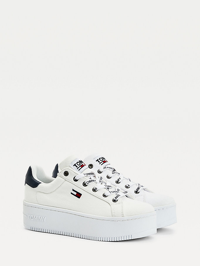 white iconic essential flatform trainers for women tommy jeans