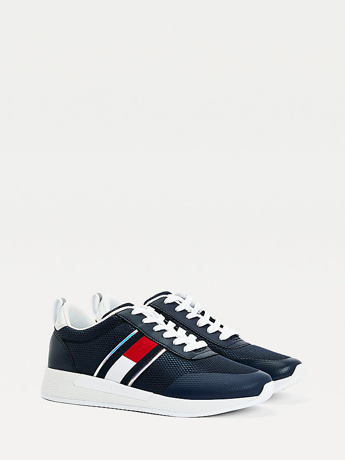 blue iridescent flag trainers for women tommy jeans