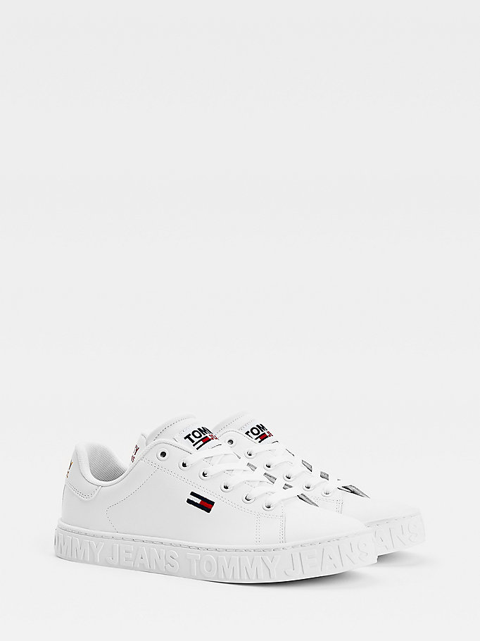white metallic logo trainers for women tommy jeans