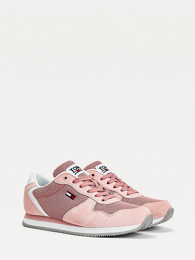 pink suede mesh panel trainers for women tommy jeans