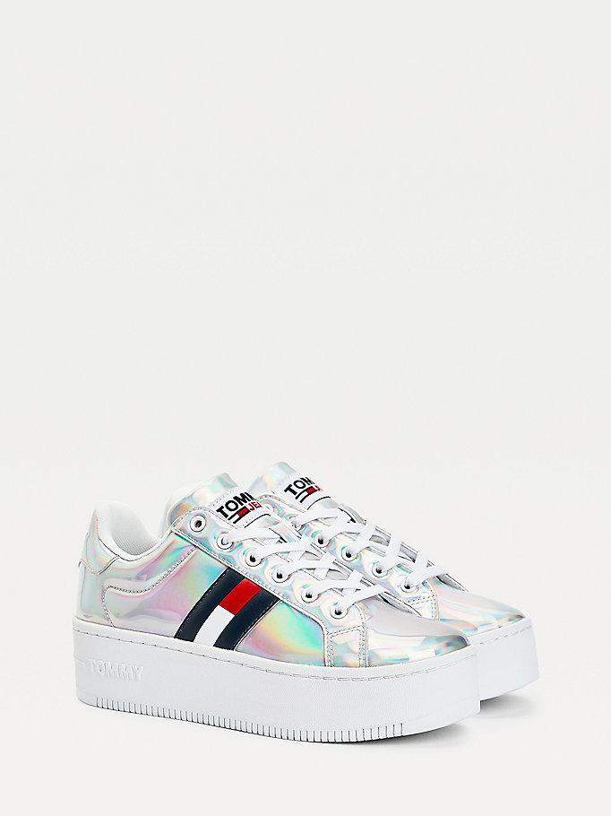 white iridescent logo flatform trainers for women tommy jeans