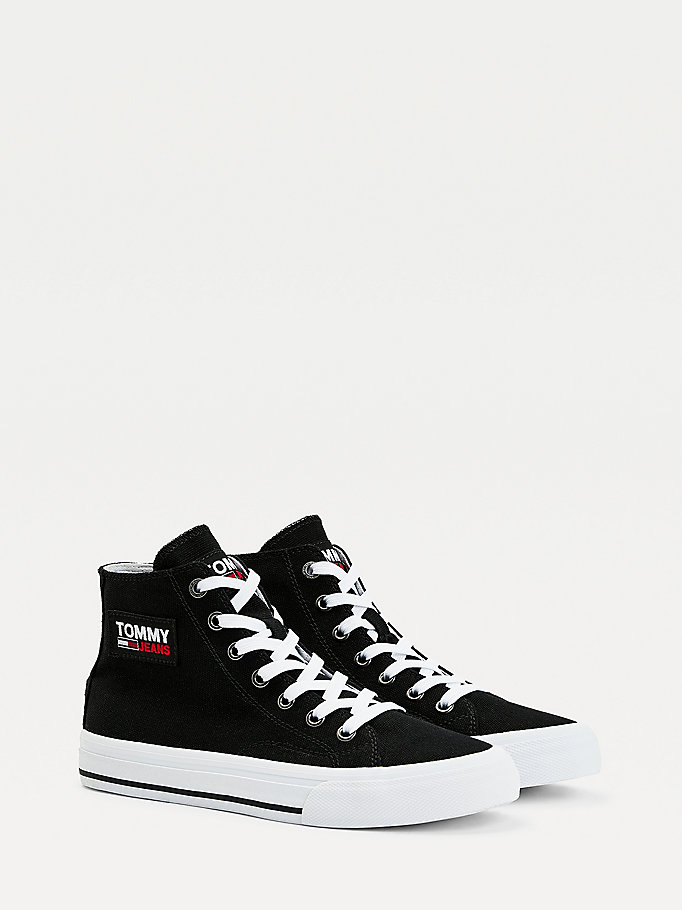 black vulcanised high-top trainers for women tommy jeans