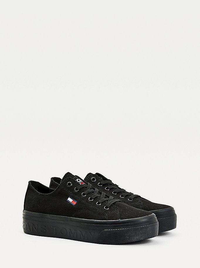 black vulcanised flatform trainers for women tommy jeans