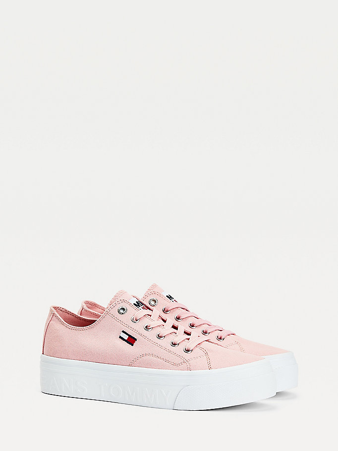pink vulcanised flatform trainers for women tommy jeans