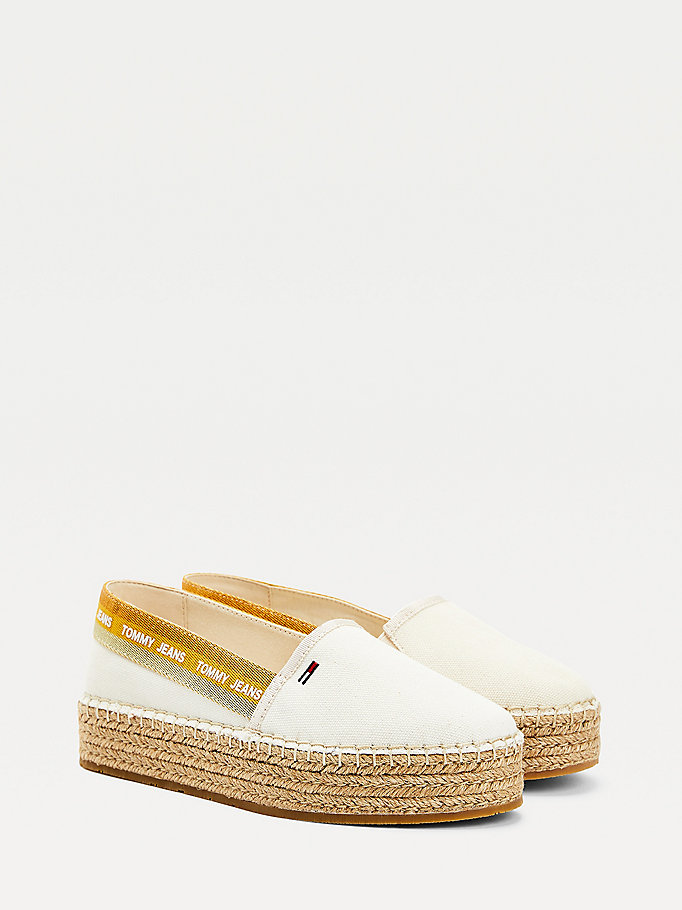 beige repeat logo flatform espadrilles for women tommy jeans