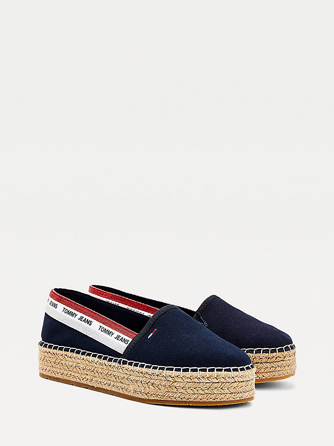 blue repeat logo flatform espadrilles for women tommy jeans
