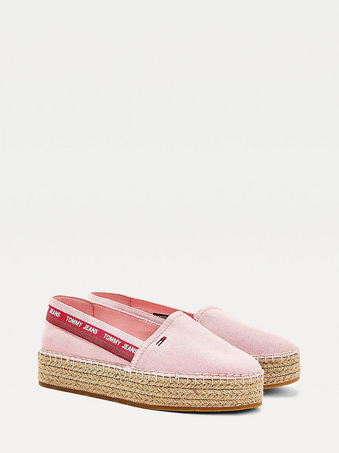 pink repeat logo flatform espadrilles for women tommy jeans