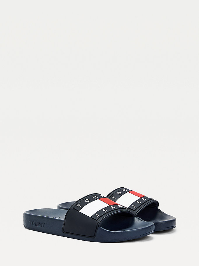 blue essential logo pool slides for women tommy jeans