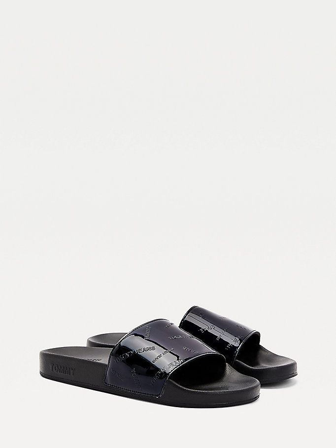 black embossed patent slides for women tommy jeans