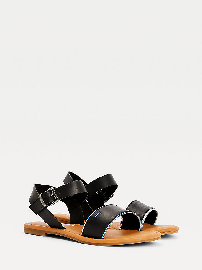black essential iridescent strap leather flat sandals for women tommy jeans