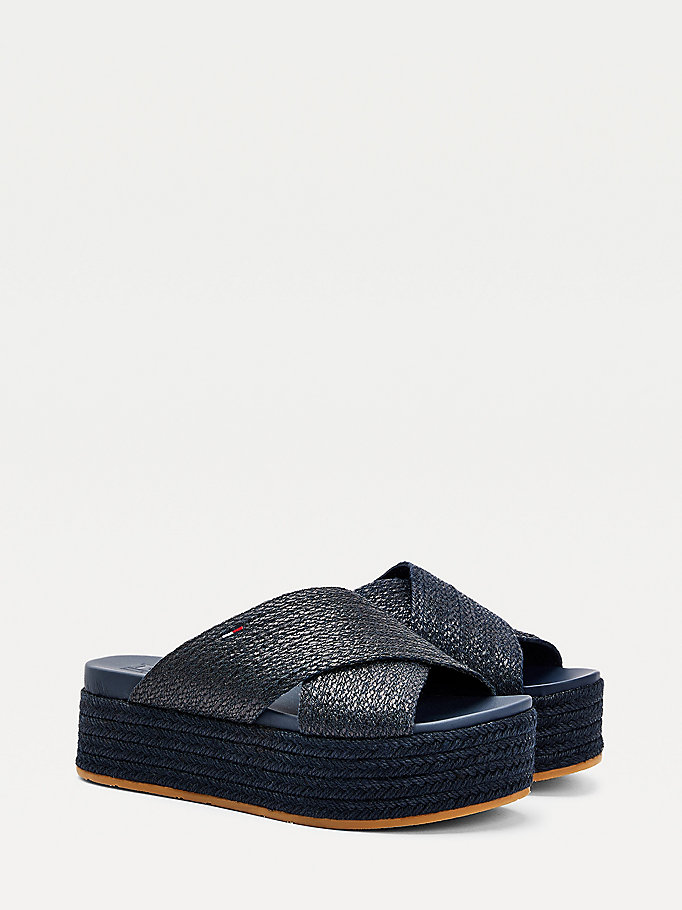 blue monochrome flatform mules for women tommy jeans
